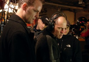 director Michael Webber on set of Thr3e
